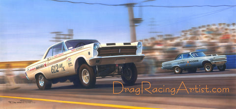 """FX of Lions""  Hayden Proffitt vs Dick Landy.... Drag Racing Art"