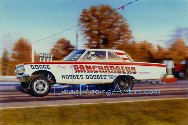"""Ferndale Candy ""   Jim Thornton driving the ""Ramchargers"" 65 FX Dodge.... Drag Racing Art"