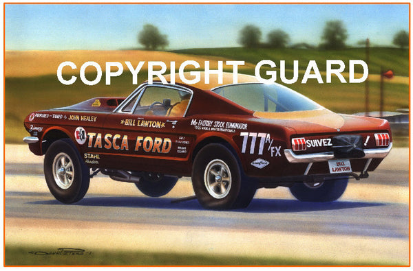 """FIRST STANG""  Bill Lawton's 65 ""Tasca"" FX Mustang.... Drag Racing Art"