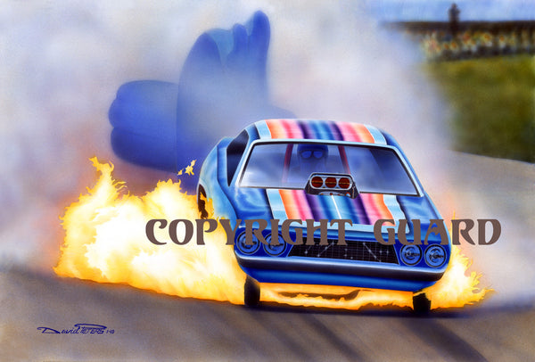 """Flame Broiled Flopper""   Roger Lindmood ""Color Me Gone""  Challenger.... Drag Racing Art"