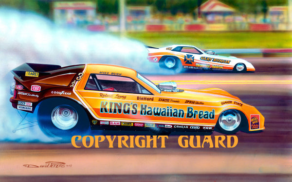 """Florida Oranges""....Mike Dunn vs. Gary Burgin.... Drag Racing Art"