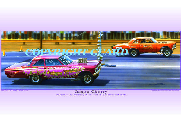 """Grape & Cherry""       Dave Koffel vs. Mel Perry.... Drag Racing Art"