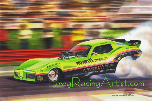 """Green Hawaiian""  Roland Leong's ""Avanti"" Corvette.... Drag Racing Art"