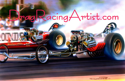 """GROUND POUNDERS"" at Pomona!.... Drag Racing Art"