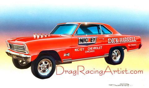 """Harrell's 66 ""  Dick Harrell's 66 Chevy Nova.... Drag Racing Art"