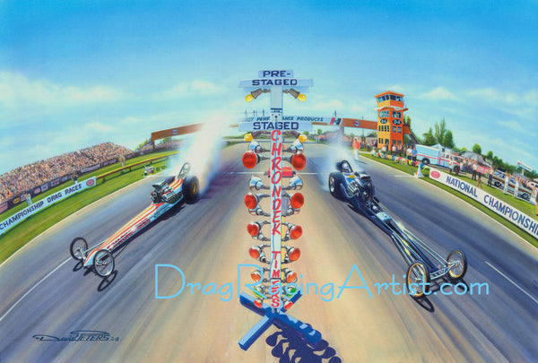 """HOOSIER THUNDER! "" Indy 1968.. Ramchargers vs. Hawaiian.... Drag Racing Art"