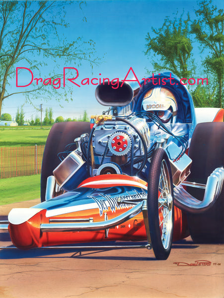 """Hot Dogs"" in the Park...Jim & Pat Nicol's Der Wienerschnitzel.... Drag Racing Art"