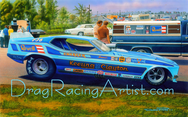 """Mustang Blues""....Keeling & Clayton's 73/76 Mustang Funny Car .... Drag Racing Art"