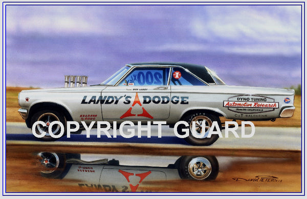 """LANDY'S LEGEND ""  Dick Landy's 65 FX Dodge.... Drag Racing Art"