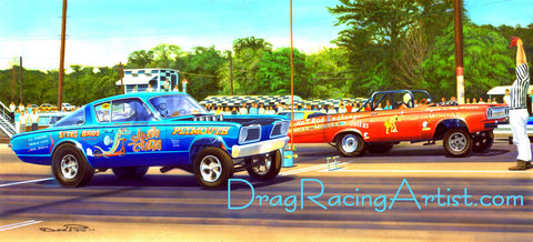 """The Longhorn and the Mule""      Ray Capps vs. Doc Spence.... Drag Racing Art"