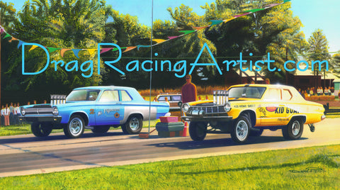 """Milkman and the Goat""   Robert (The Flying Milkman) Nance vs Billy (Big Deal) Jacobs.... Drag Racing Art"