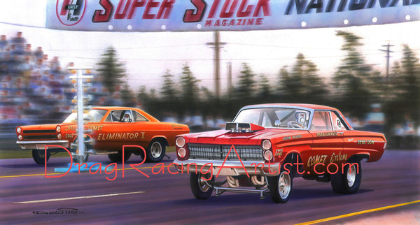 """Night of the Comets ""  Pete Gates vs. Dyno Don Nicholson.... Drag Racing Art"