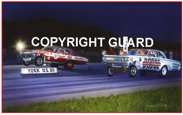 """Night of the F/Xs ""    Bud Faubal vs. Bob Harrop.... Drag Racing Art"
