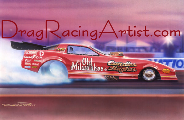 """Old Red"" ..Mark Oswald boiling the hides in Candies & Hughes 1986 Trans Am..... Drag Racing Art"