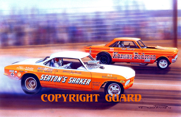 Orange Crates....Pete Seaton's Corvair vs. Ted Detar's Falcon..... Drag Racing Art