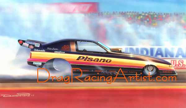 JP-1 Indy ! Mike Dunn smoked the tires to Win the US Nationals.... Drag Racing Art