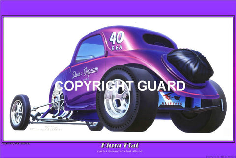 """PLUM FIAT ""   Davis & Ingram's Fiat Altered.... Drag Racing Art"