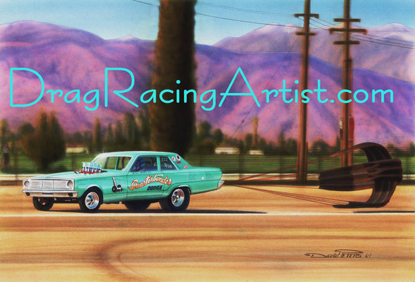 Plumber at Pomona!   Bill Rieck's immaculate Aqua colored 66 Dodge Dart.... Drag Racing Art