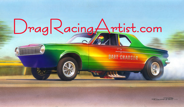 """Rainbow Charger""  Dick Branstner's Dodge Dart.... Drag Racing Art"