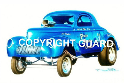 Stone Woods & Cookie 41 Willys..... Drag Racing Art