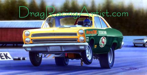 """Schartman's Cyclone""  Ed Schartman'S Flip-top Mercury.... Drag Racing Art"