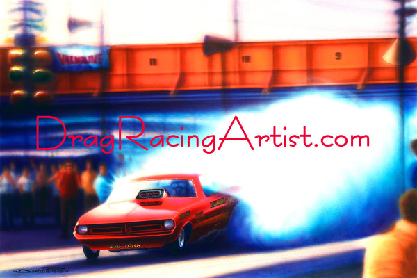 """SMOKED CUDA!""    ""Big John"" Mazmanian's 1970 Cuda Funny Car.... Drag Racing Art"