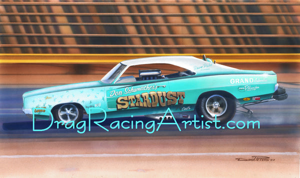 """Stardusted Charger""   ""Stardust"" Dodge Charger owned by Don Schumacher.... Drag Racing Art"