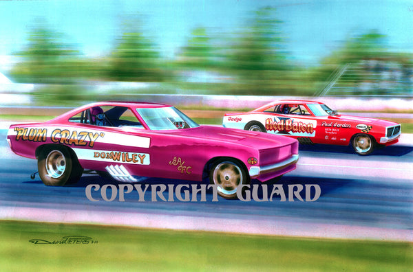 """The Texas Chargers""..... Don Wiley vs. Paul Gordon....... Drag Racing Art"