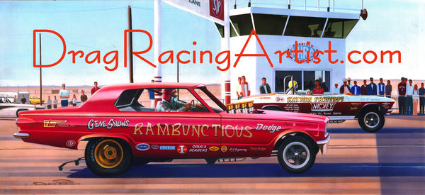 """Texas vs. Calif. n Amarillo""  Gene Snow vs. Hayden Proffett.... Drag Racing Art"