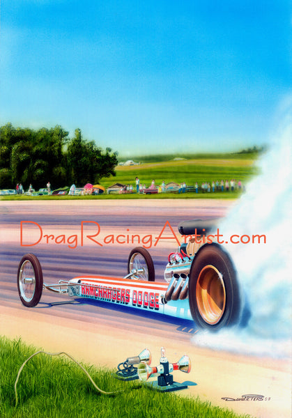 """THUNDER ON THE FARM!""  ""Ramchargers"" dragster driven by Don Westerdale.... Drag Racing Art"