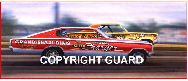 """The Tiger and the Ram!""   Gary Dyer match racing Arnie Beswick.... Drag Racing Art"