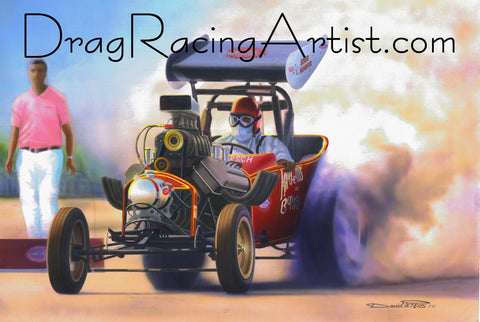 """Willy Hang On!""   Marcellus & Borsch ""Winged Express"" Fuel Altered.... Drag Racing Art"
