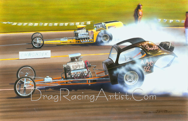 All Couped-Up Pt.2..Al Bergler vs Ray Spradling.... Drag Racing Art