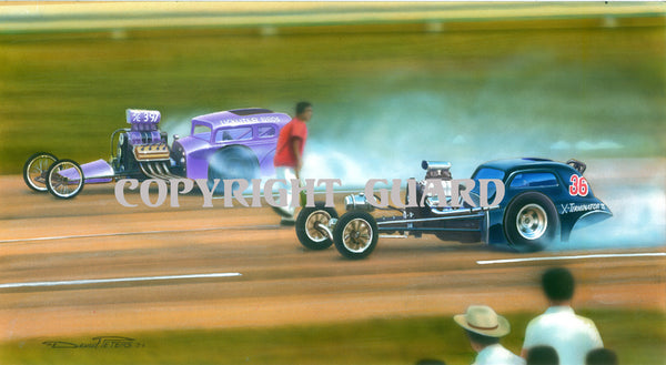 All Couped Up !.... Lickliter Bros. vs. the X-Terminator 1962.... Drag Racing Art