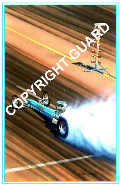 "Blue Hawaiian"" 1966....... Drag Racing Art"