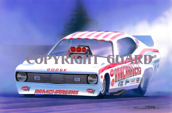 """Candy-Striped Demon!""...Ramchargers 73 Demon FC...... Drag Racing Art"