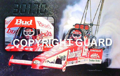 """CARVED IN STONE !""..The Only Official Authorized and Signed Print of Kenny Bernstein's Record breaking 300mph pass....... Drag Racing Art."