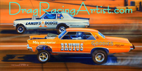 """Dandy Gates the Goat"" Dick Landy vs. Jungle Jim Liberman...Drag Racing Art"