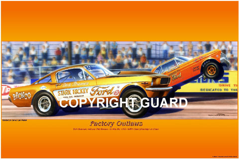 """FACTORY OUTLAWS""  Dick Brannon vs. Phil Bonner.... Drag Racing Art"