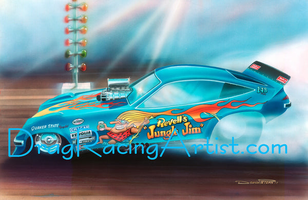 """Jungle 'Smokin' Jim""...""Jungle Jim"" Liberman's Monza.... Drag Racing Art"