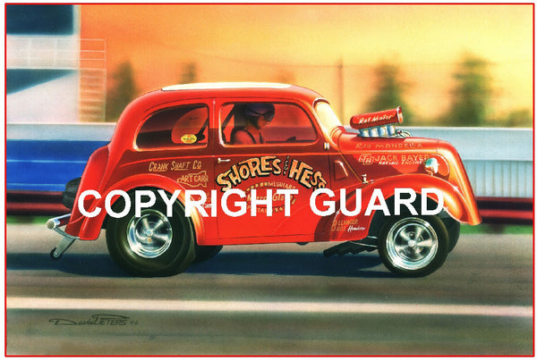 Lil Red Anglia...Shores and Hess Gasser.... Drag Racing Art