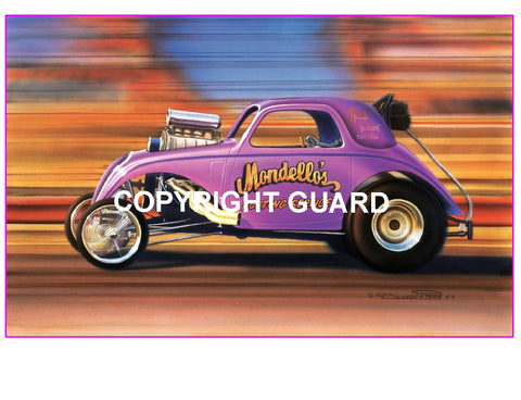 "Mondello and Matusbara's Fiat Fuel Altered..""Plum Krazy"" Drag Racing Art print"