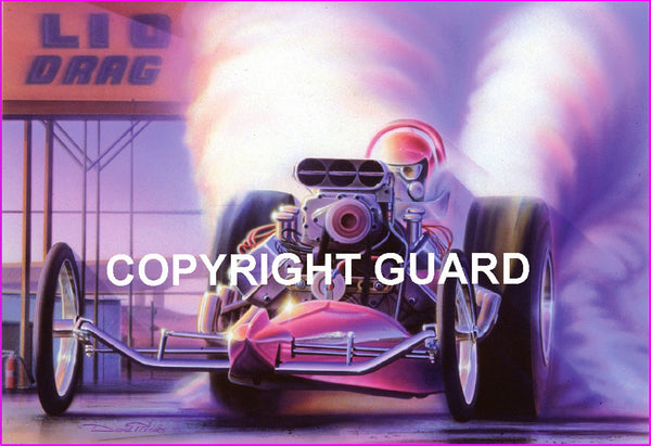 """Purple Haze 1967....""Purple Gang"" AA/FD, owned by Ronnie Rapp, Vince Rossi and Chayo Maldonado and driven by Gary Gabelich. ..Drag Racing Art"