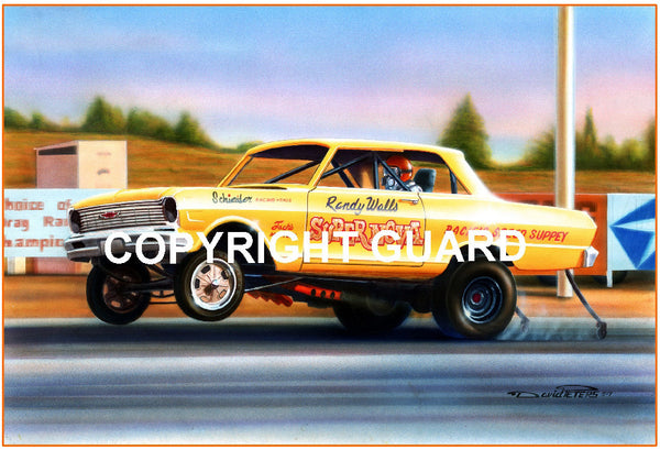 """Randy at Riverside !""  Randy Walls ""Super Nova"".... Drag Racing Art"