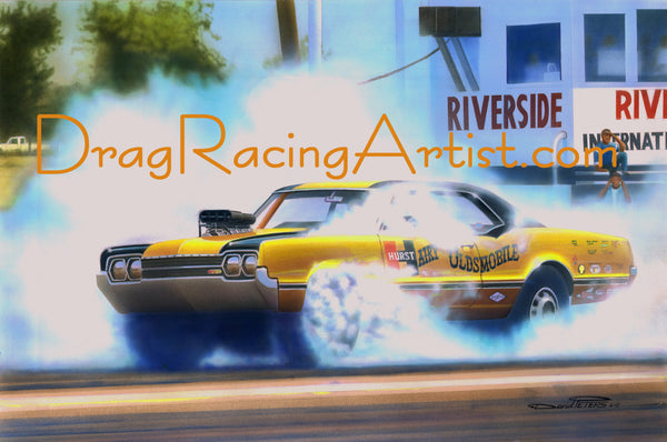 "Hurst's Hairy ""Smog Monster"" Olds.... Drag Racing Art"