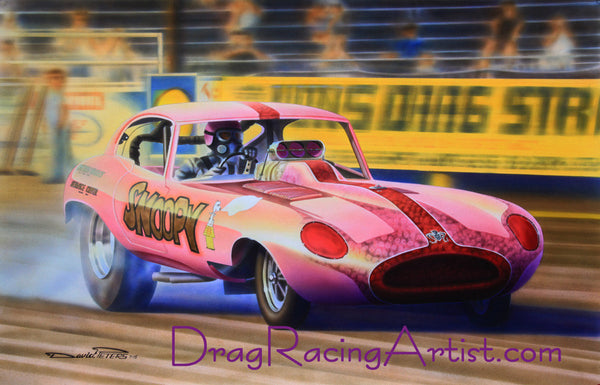 "Sheldon Konblett's ""Snoopy"" Jaguar XKE Funny Car...Drag Racing Art Print"