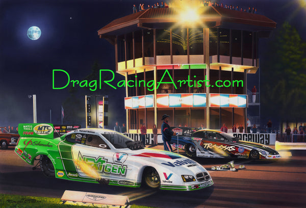 """Time Travelers"" ...Jack Beckman vs. Courtney Force at OC...Drag Racing Art"