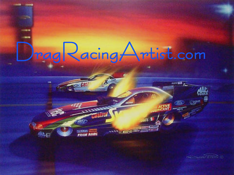 Tony Forces the Issue...John Force & Tony Pedregon signed LEP... Drag Racing Art Print