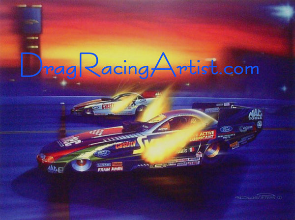 """Tony Forces the Issue"". John Force vs Tony Pedregon (Signed by Both) Limited Edition Print.... Drag Racing Art"