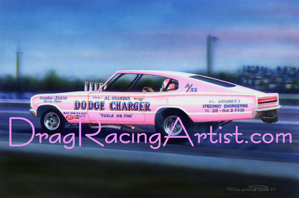 "A Touch of Pink ! ....Al Graeber's 1966 ""Tickle Me Pink"" Dodge Charger f/x match racer... Drag Racing Art"
